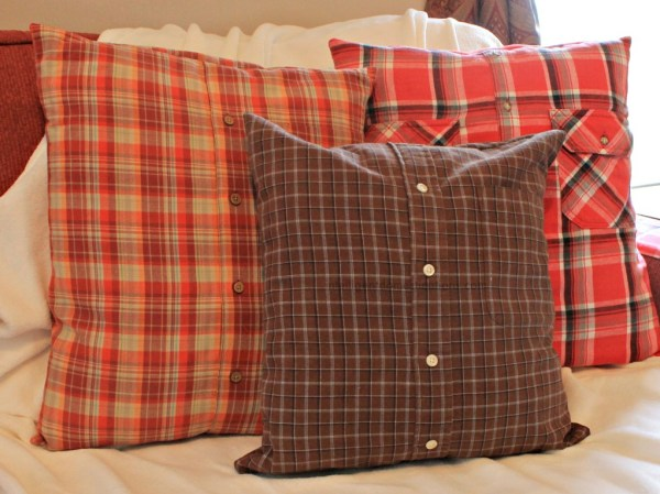 How to upcycle fall plaid shirts into pillow covers for your sofa. Repurpose plaid shirts.