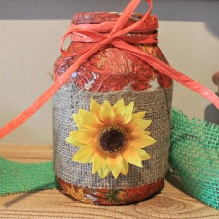 Fall Mod Podge Repurposed Mayo jar.intelligentdomestications.com