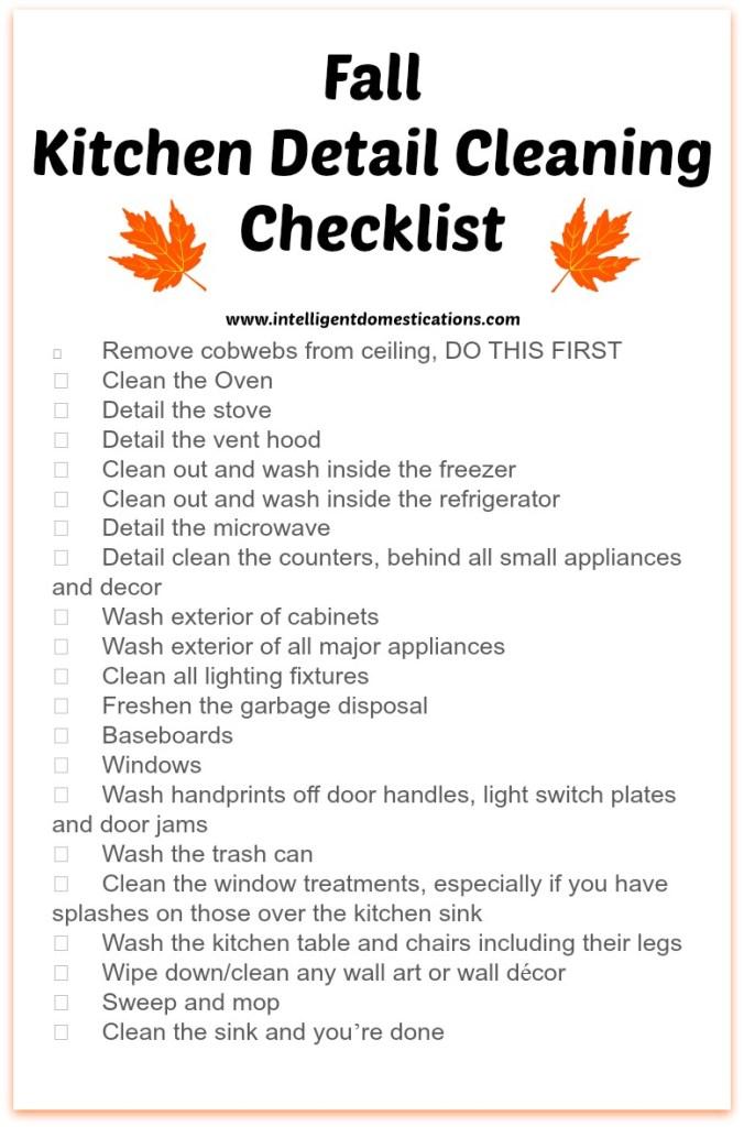 Kitchen Detail Cleaning Checklist.www.intelligentdomestications.com