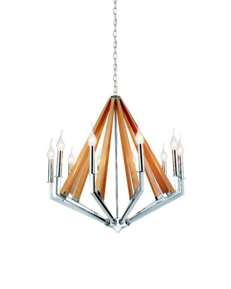 10 Lights Burlywood Pendant Light with Iron Holder from Parrot Uncle
