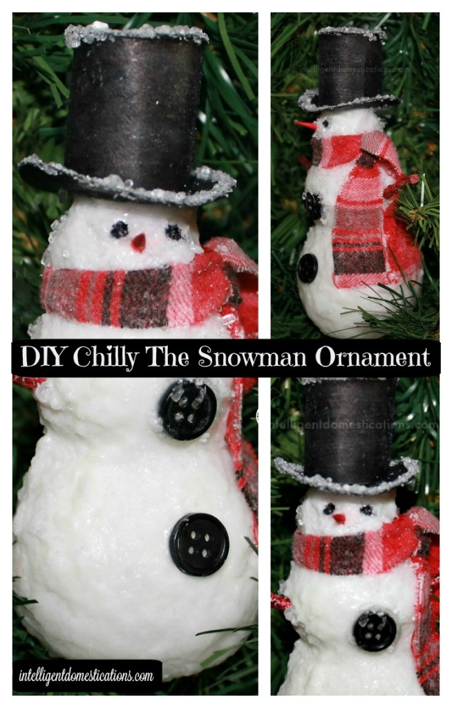 DIY Chilly The Snowman Ornament collage.intelligentdomestications.com