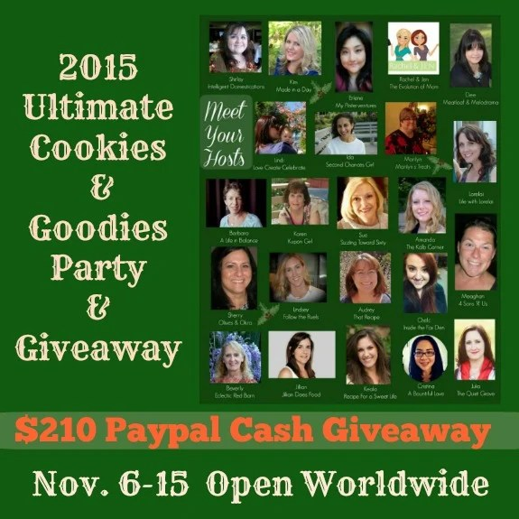 Paypal Cash Giveaway graphic. 2015 Ultimate Cookies & Goodies Virtual Party & Giveaway