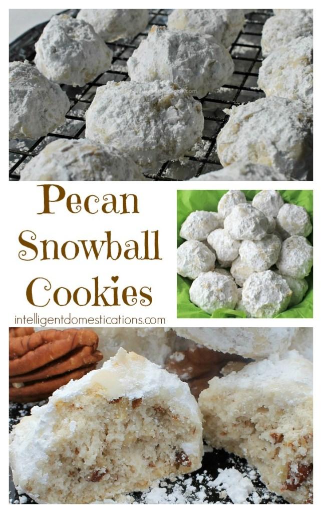 Pecan Snowball Cookies recipe at www.intelligentdomestications.com