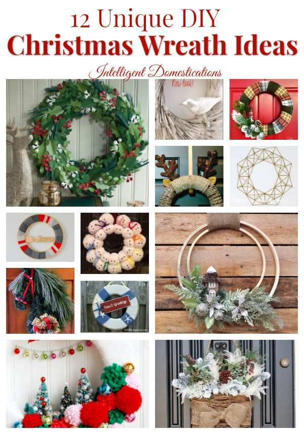 12 Unique DIY Christmas Wreath Ideas complete with tutorials and supply lists for you. #diychristmas #ChristmasWreath