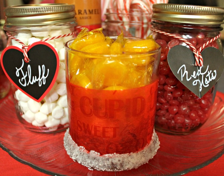 Our Valentine Hot Cocoa bar candy jars are filled with a variety of toppings and candies