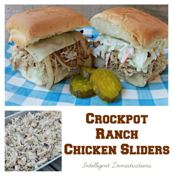 Crockpot Ranch Chicken Sliders easy recipe. Only 3 simple ingredients to make these shredded chicken sliders. Serve them on Hawaiian Rolls or your favorite slider buns. Great for weeknight meals or party food. #shreddedchicken #slidersrecipe