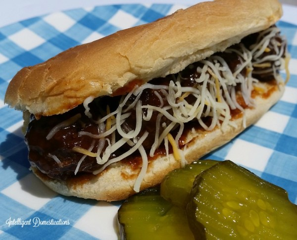Meatball Sub Sandwich using leftover meatballs is a good grocery budget saver. #meatballs #sandwich