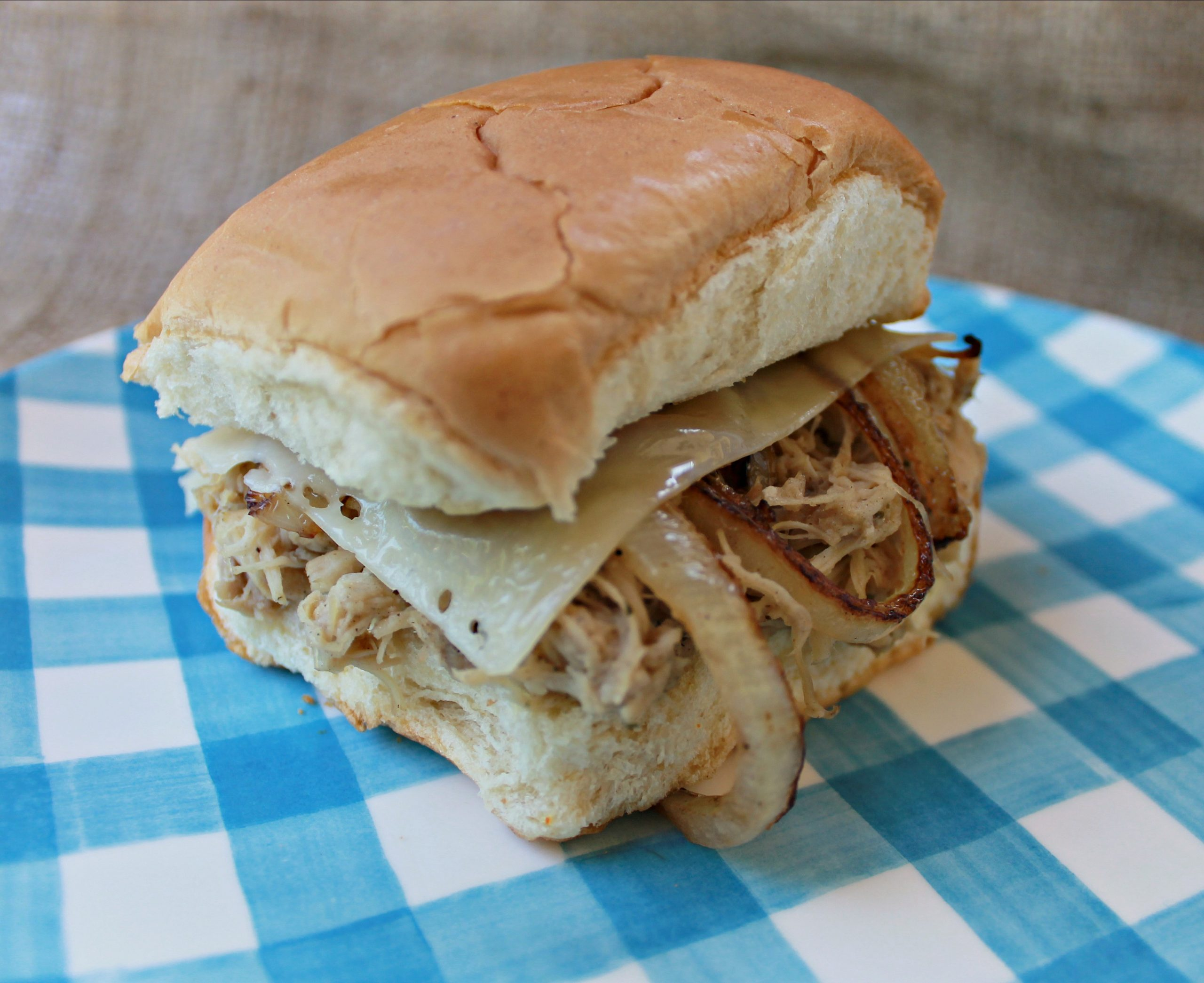 Ranch Chicken Sliders with melted provolone and grilled onions for the win