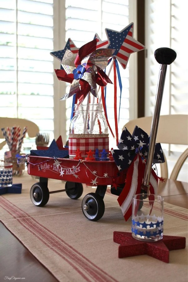 RedWagon. 10 Patriotic Table Decor Ideas. Patriotic Tablescape Ideas. How to set a Red, White and Blue Table. July 4th Tablescape Ideas. 4th of July Tablescape Ideas. #Patriotictable #redwhiteandbledecor #patrioticdecor