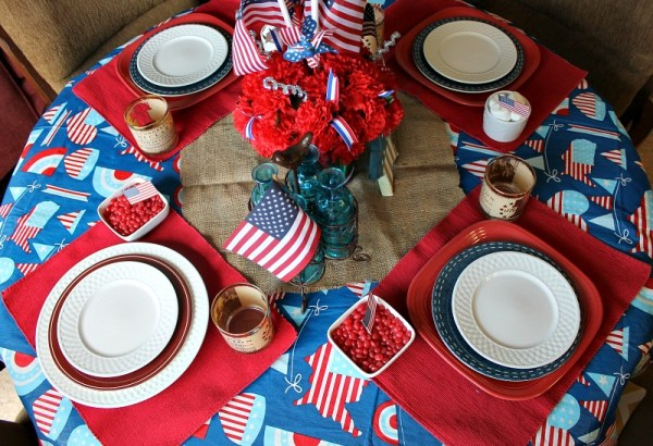Simple Patriotic Tablescape. Use what you have to create a festive atmosphere.