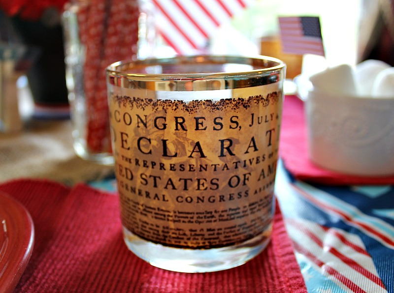 The back of my Becentennial collectors glasses which are a part of my Patriotic tablescape using what I already have