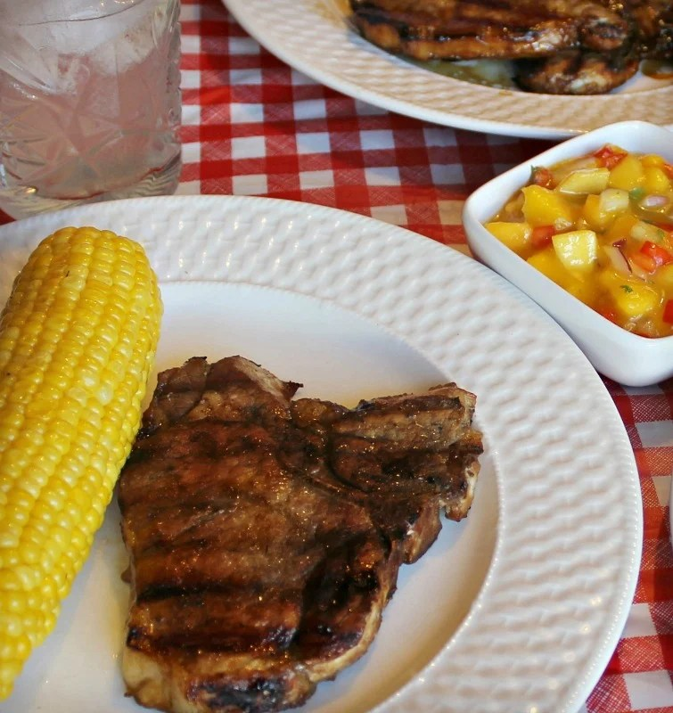 Grill pork like a steak then enjoy it even more served with grilled corn on the cob and our Honey Sweet Peach Mango Salsa