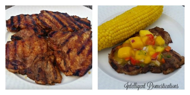 Grilled Pork Chops with Peach Mango Salsa