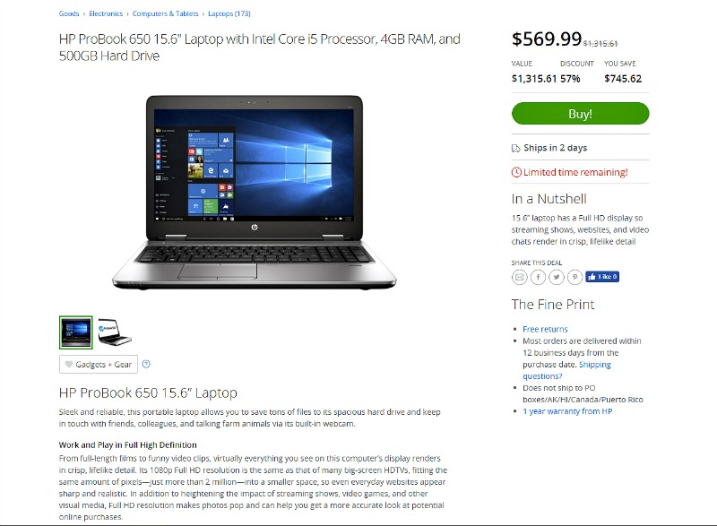 Groupon Goods HP Laptop