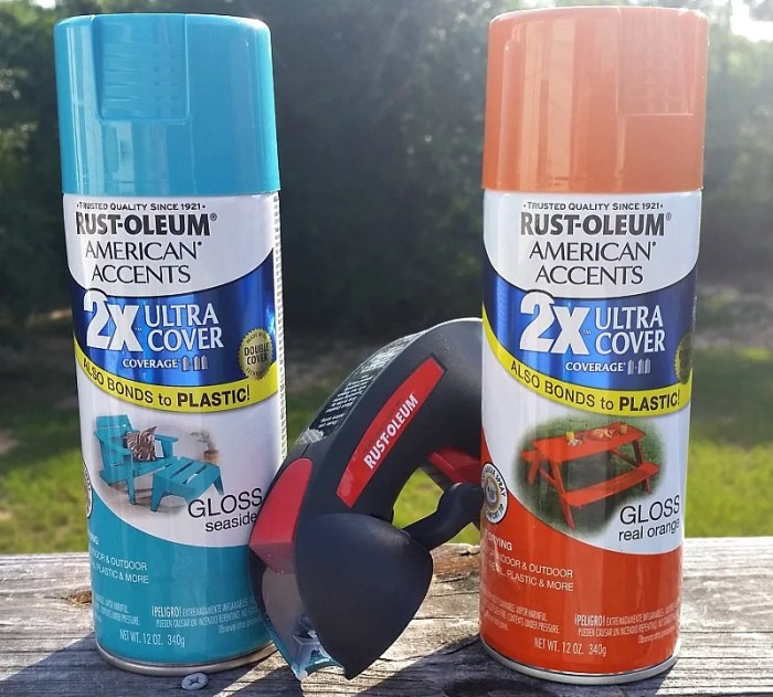 Rust-oleum paint colors I used to spray paint my Solar Standing Porch Lamp