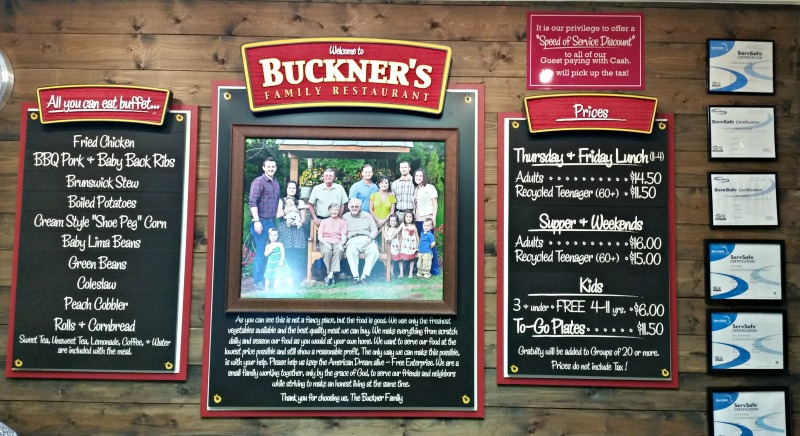 Buckner's Menu and Pricing