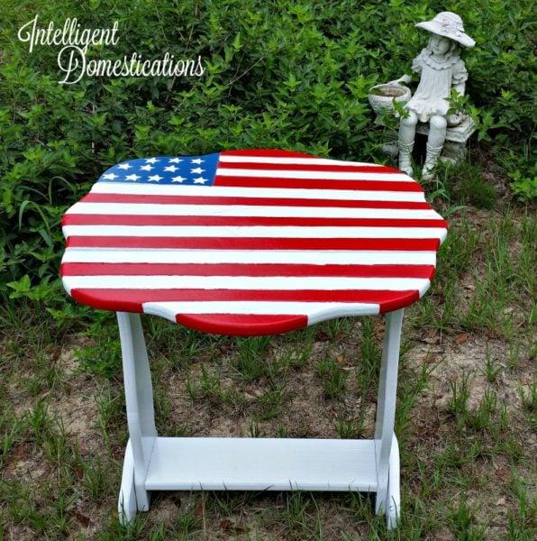 American Flag side table makeover. Furniture makeover