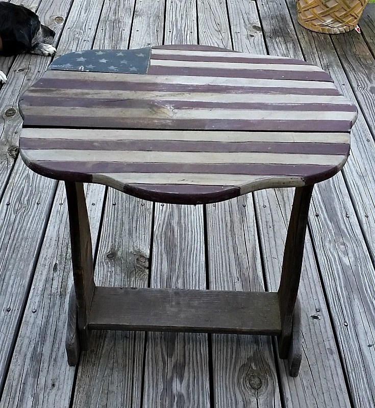 Flag Porch Table before makeover