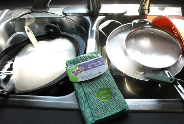 My new Scotch-Brite scrubbing dish cloths make cleaning big kitchen messes easier. jpg