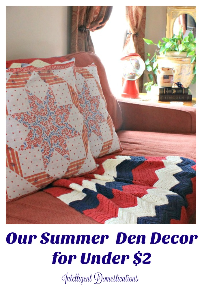 Our Summer Den Decor for Under $2. Visit our Thrift Store Upcycle Challenge every month for new ideas