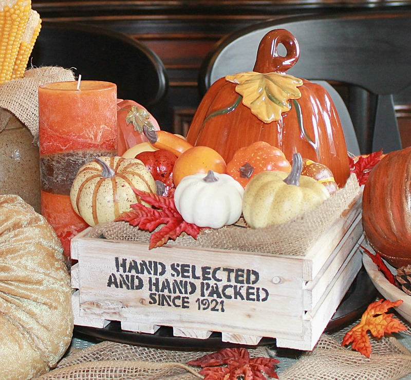The farmhouse style stencil turned out really nice on the wood crate and add a nice look to our Farmhouse Style Fall Tablescape