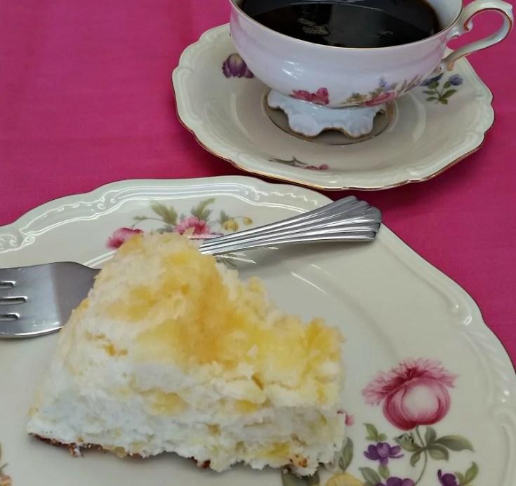 pineapple angel food cake slice on a dish