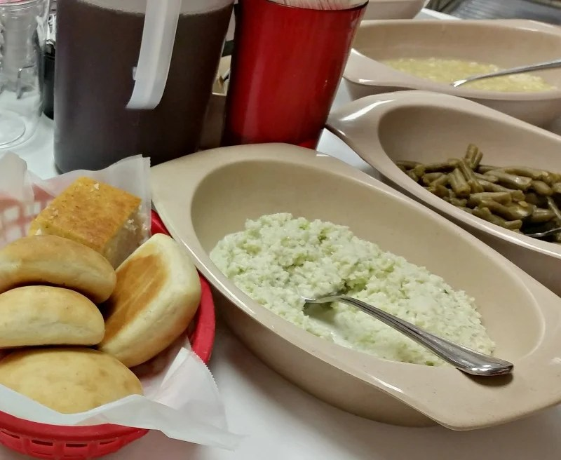 Yeast Rolls, Slaw, Green Beans and Corn