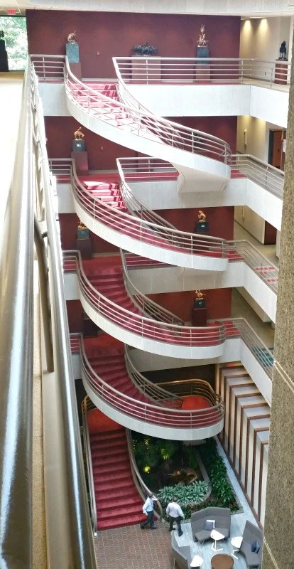 Chick Fil A Home Office Backstage Tour in Atlanta, Ga. #chikfila #hobst. the-spiral-staircase-at-chik-fil-a-home-office