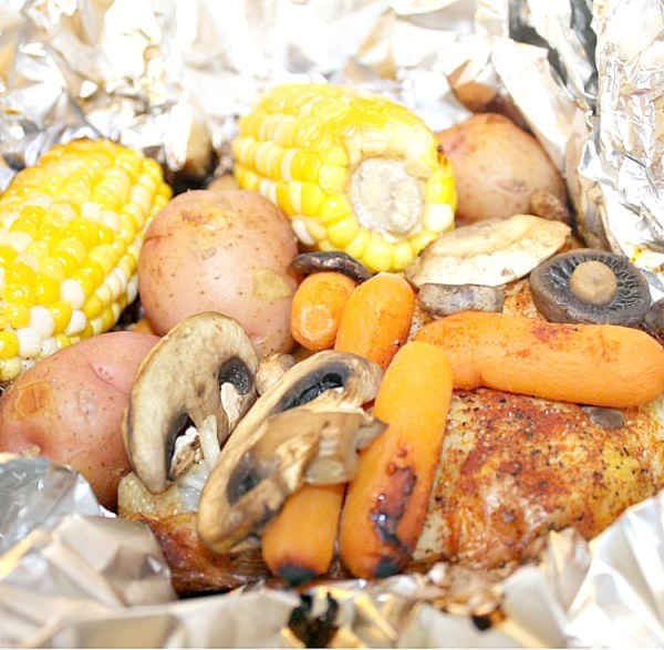 Campfire Grilled chicken foil pack dinner