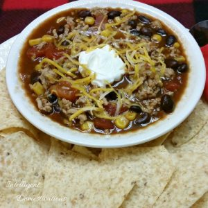 Black bean Taco soup in a white bowl