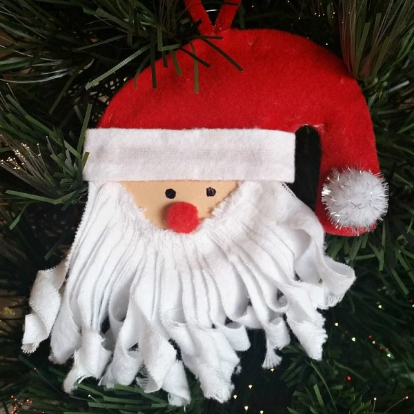 DIY Mason Jar Lid Santa Ornament