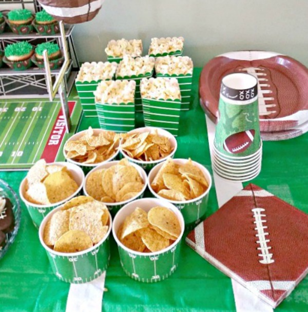Football party plates, snack cups and napkins. Where to find cute football party supplies. #football party