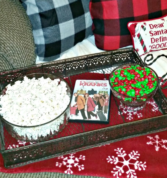 Movie Date Night at Home. Date your mate ideas. Christmas With The Kranks movie night at home. Stay home date idea