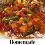 Homemade Vegetable Soup Recipe. A versatile homemade soup with few ingredients. Can be made in Slow Cooker or Stovetop. Add meat if you like. #vegetablesoup #intellid
