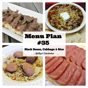 Menu Plan #35 Black Beans Cabbage & Rice