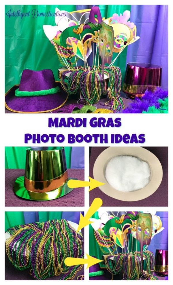 Mardi Gras Party photo booth props including a green and gold hat, lots of party beads and photo stick props