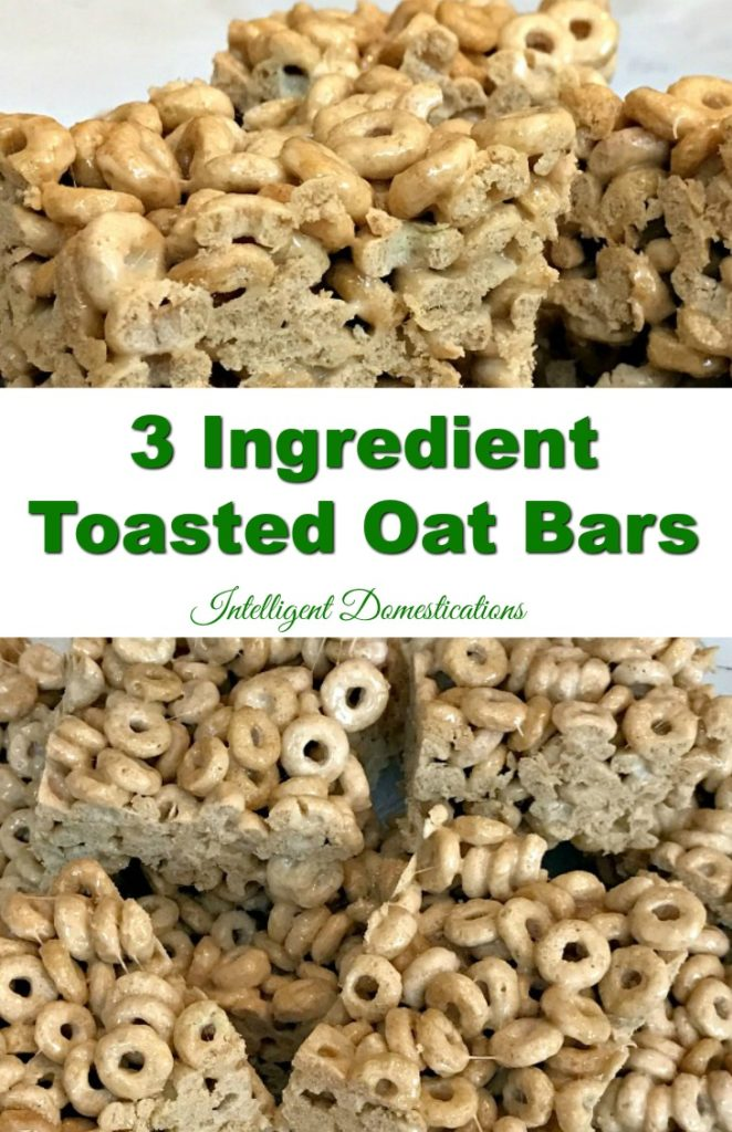 3 Ingredient Toasted Oat Bars Recipe. Ready in minutes and perfect for snacking or weeknight dessert