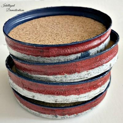 Americana Mason Jar Lid Coasters