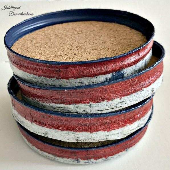 DIY Americana Mason Jar Lid Coasters project with tutorial