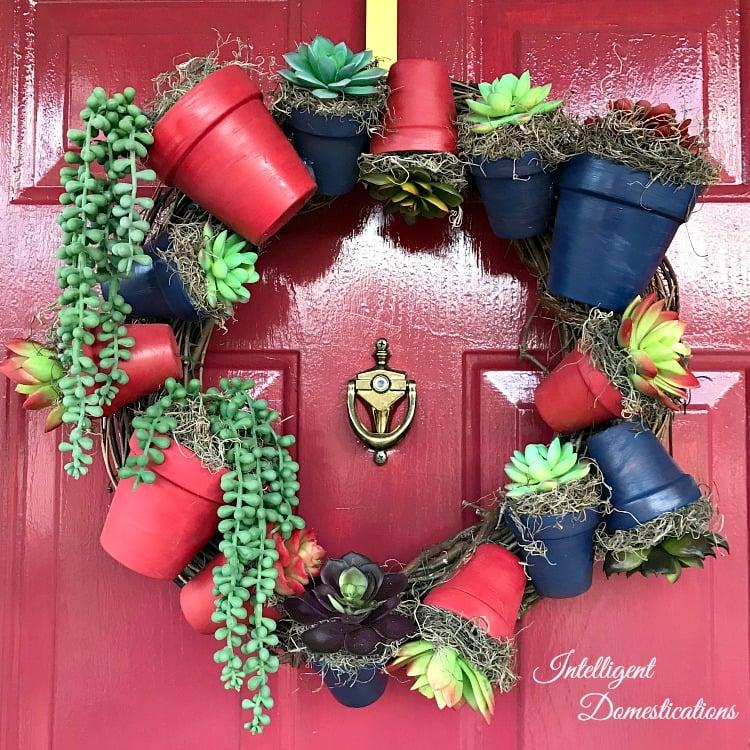 DIY Americana Clay Pot Wreath tutorial