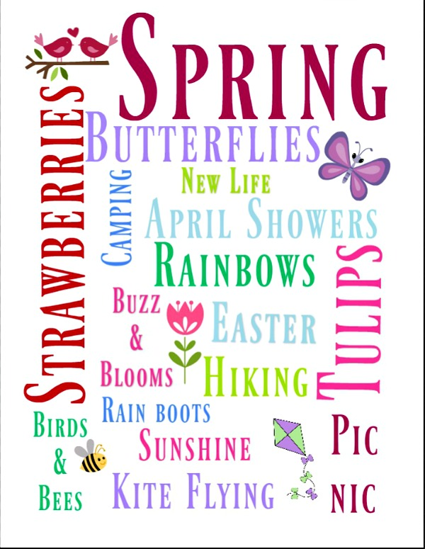 Spring Subway Art free printable 8x10 suitable for framing