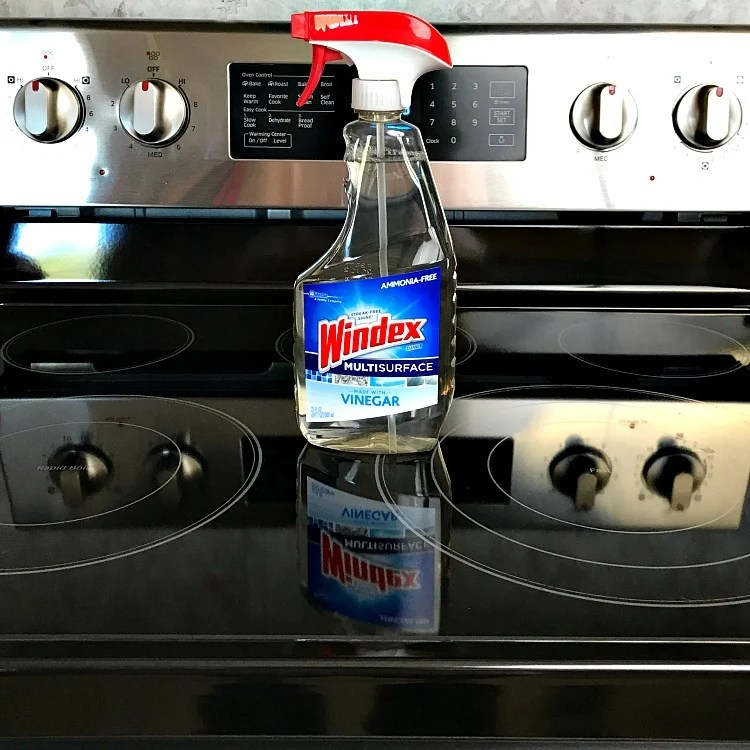 Windex Multisurface with vinegar leaves a nice shine on my stove