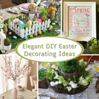 a collage of Easter home decor