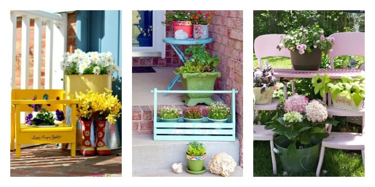 Merry Monday Features. Create an outdoor vignette. with flowers and containers