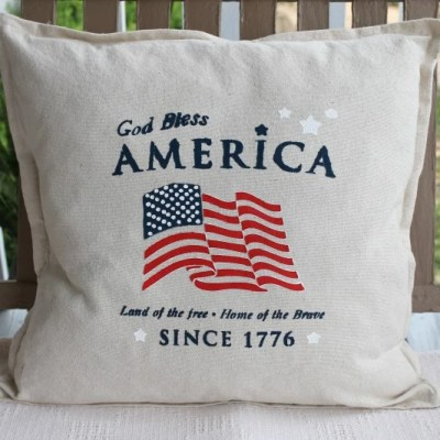 DIY Stenciled Americana Drop Cloth Pillow Cover