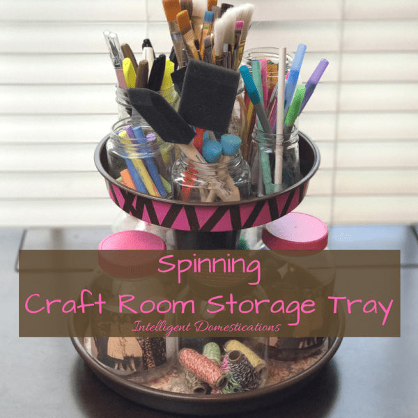 How to DIY your own Easy Spinning Two Tier Craft Room Storage Tray. DIY Two Tier Spinning Tray. Upcycle old baking pans into a two tier stand.