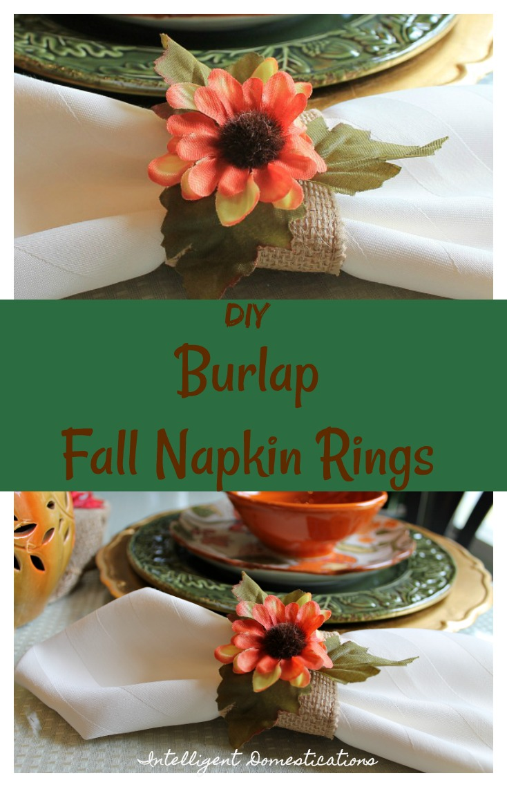 How to make easy burlap fall napkin rings. DIY Burlap Fall Napkin rings. DIY Fall Napkin rings. Burlap napkin rings.
