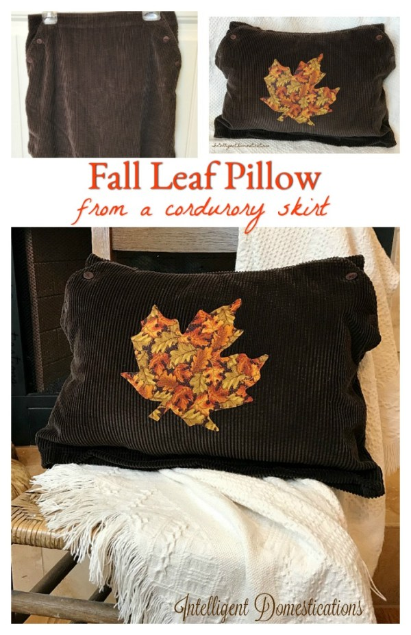 DIY Fall Leaf Pillow Cover tutorial. How to make a fall pillow cover from a skirt. How to Turn A Corduroy Skirt Into Pillow Cover. Fall Pillow Cover