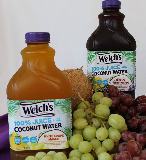 Welch's 100% juice with coconut water. Tropical Berry GrapeWelch's 100% Juice White Grape Mango with Coconut water. You new way to drink delicious coconut water. Juice with coconut water..