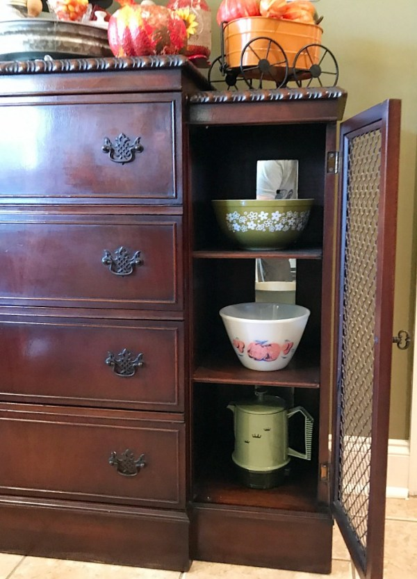 A peep inside our antique sideboard filled with vintage bowls